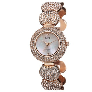 Burgi Women's Swiss Quartz Diamond Dial Crystal-Accented Rose-Tone Bracelet Watch