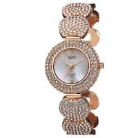 Burgi Women's Swiss Quartz Diamond Dial Crystal-Accented Rose-Tone Bracelet Watch