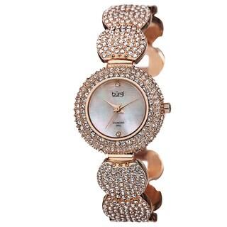 Burgi Women's Swiss Quartz Diamond Dial Crystal-Accented Rose-Tone Bracelet Watch with FREE Bangle