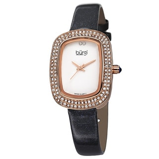 Burgi Women's Swiss Quartz Crystal Grey Strap Watch with FREE GIFT