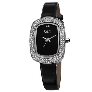 Burgi Women's Swiss Quartz Crystal Silver-Tone Strap Watch