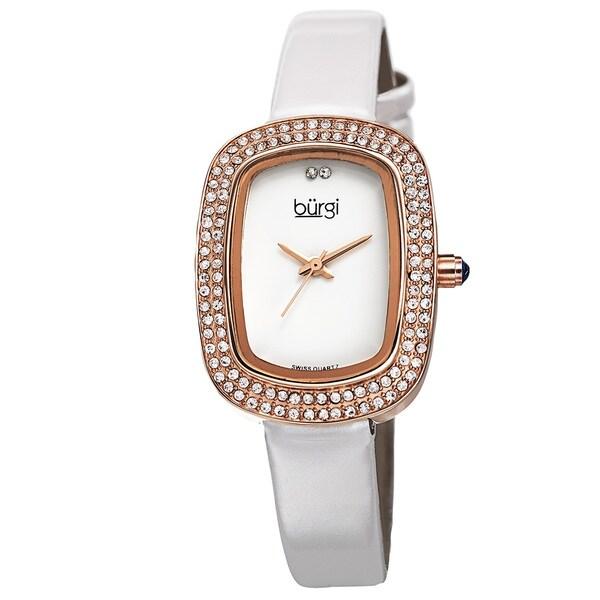 Burgi Women's Swiss Quartz Crystal Rose-Tone Strap Watch with FREE Bangle