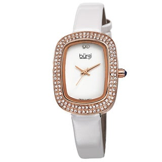Burgi Women's Swiss Quartz Crystal Rose-Tone Strap Watch with FREE GIFT