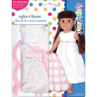 Springfield Collection Nightie Outfit-White Nightie W/Pink and White Blanket
