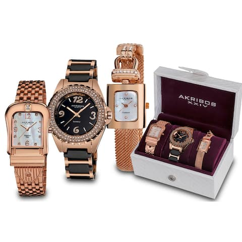Akribos XXIV Women's Quartz Diamond Rose-Tone Bracelet 3-Watch Set - Gold