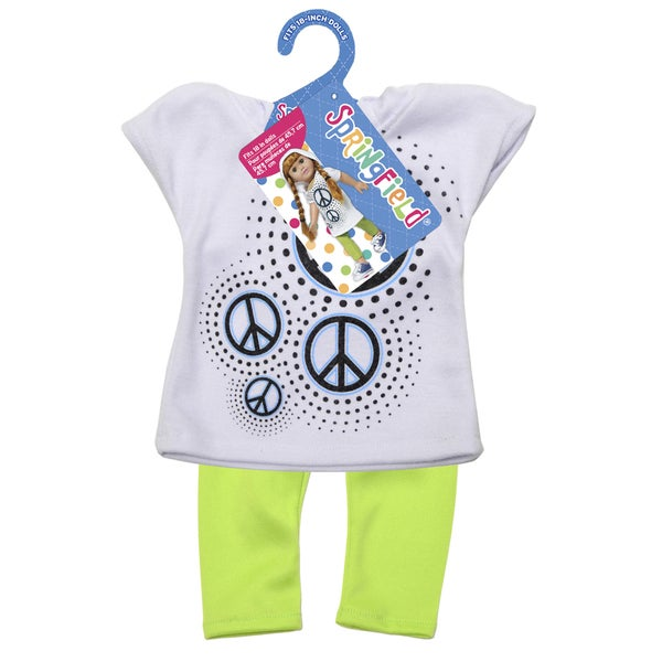 Springfield Collection Hooded Shirt W/Leggings-Peace Sign Shirt and Lime Leggings