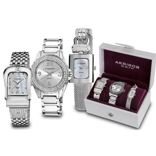 Akribos XXIV Women's Quartz Diamond Silver-Tone Bracelet Watch Set With GIFT BOX