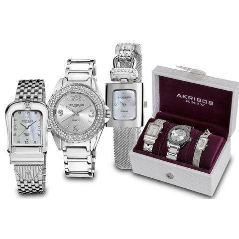 Akribos XXIV Women's Quartz Diamond Silver-Tone Bracelet Watch Set