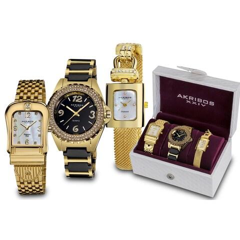 Akribos XXIV Women's Quartz Diamond Gold-Tone Bracelet Watch Set