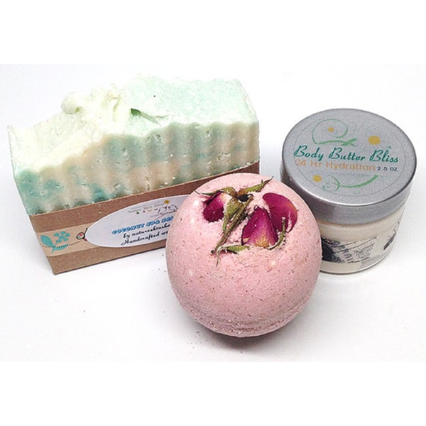 Handmade Silky Spa 3-Piece Bath Gift Set. Opens flyout.