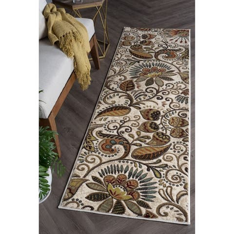 Alise Rugs Caprice Transitional Floral Runner Rug - 2'3 x 7'7