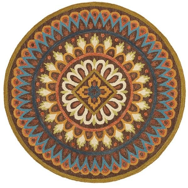 lnr home dazzle brown geometric round area rug 6u0026x27