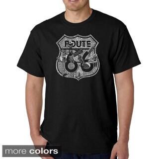 Los Angeles Pop Art Men's 'Stops Along Route 66' T-shirt (Option: Orange)