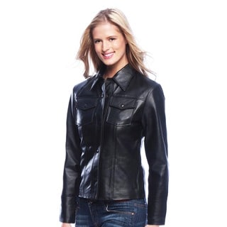 Women's Leather Shirt Jacket