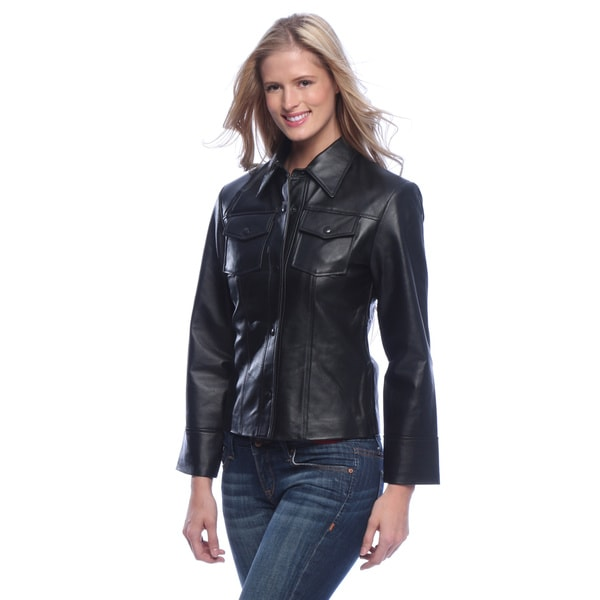 Tanners avenue women 39 s leather shirt jacket 16273580 for Red leather shirt for womens