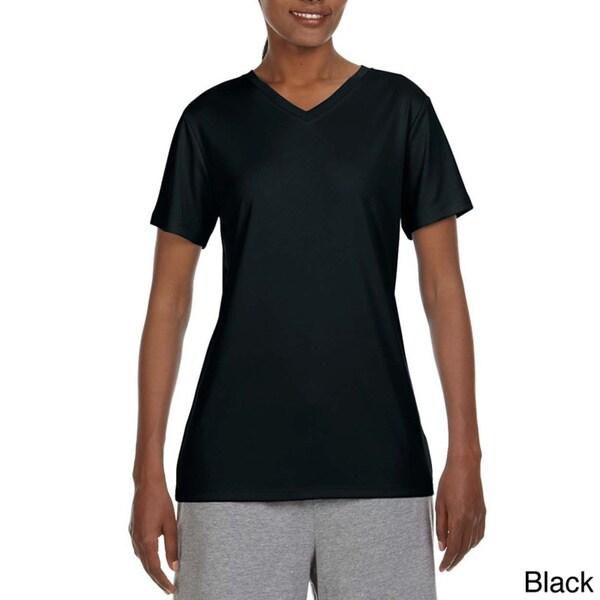 Hanes Women's Cool DRI V-neck T-shirt