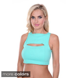 White Mark Women's Cut-out Crop Top