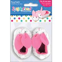 Springfield Collection Bunny Slippers in White and Pink