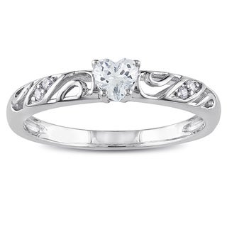 Miadora Sterling Silver Created White Sapphire and Diamond Accent Heart Promise Ring