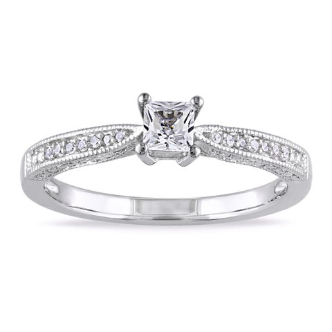 Miadora Sterling Silver Created White Sapphire and Diamond Accent Promise Ring