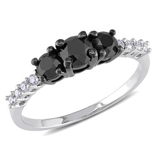 Miadora Sterling Silver 1ct TDW Black and White Diamond Three-stone Ring