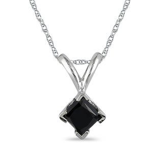 Haylee Jewels 10k White Gold 1/4ct TDW Black Diamond Solitaire Necklace