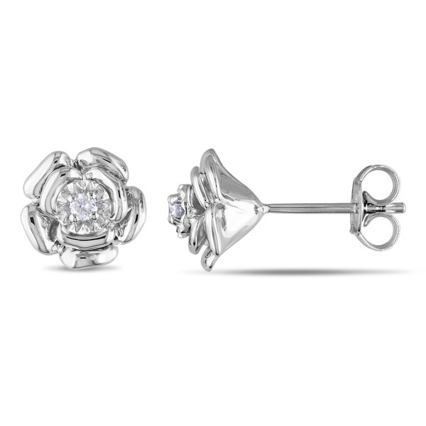 Miadora Sterling Silver Diamond Flower Earrings