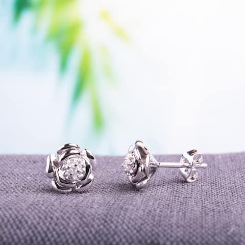 Miadora Sterling Silver Diamond Flower Earrings - 8.9 mm x 8.6 mm x 6.3 mm - 8.9 mm x 8.6 mm x 6.3 mm