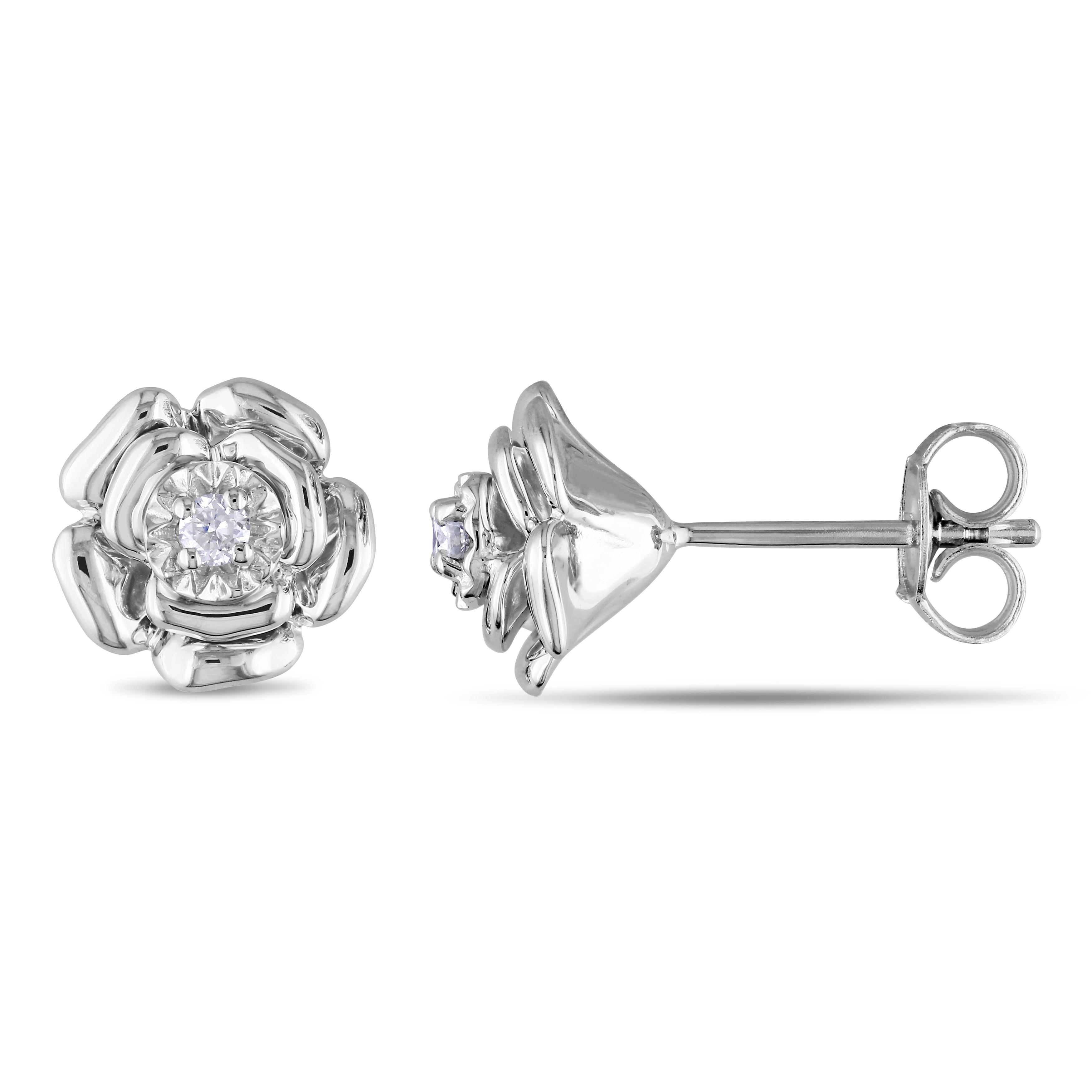 Miadora Sterling Silver Diamond Flower Earrings