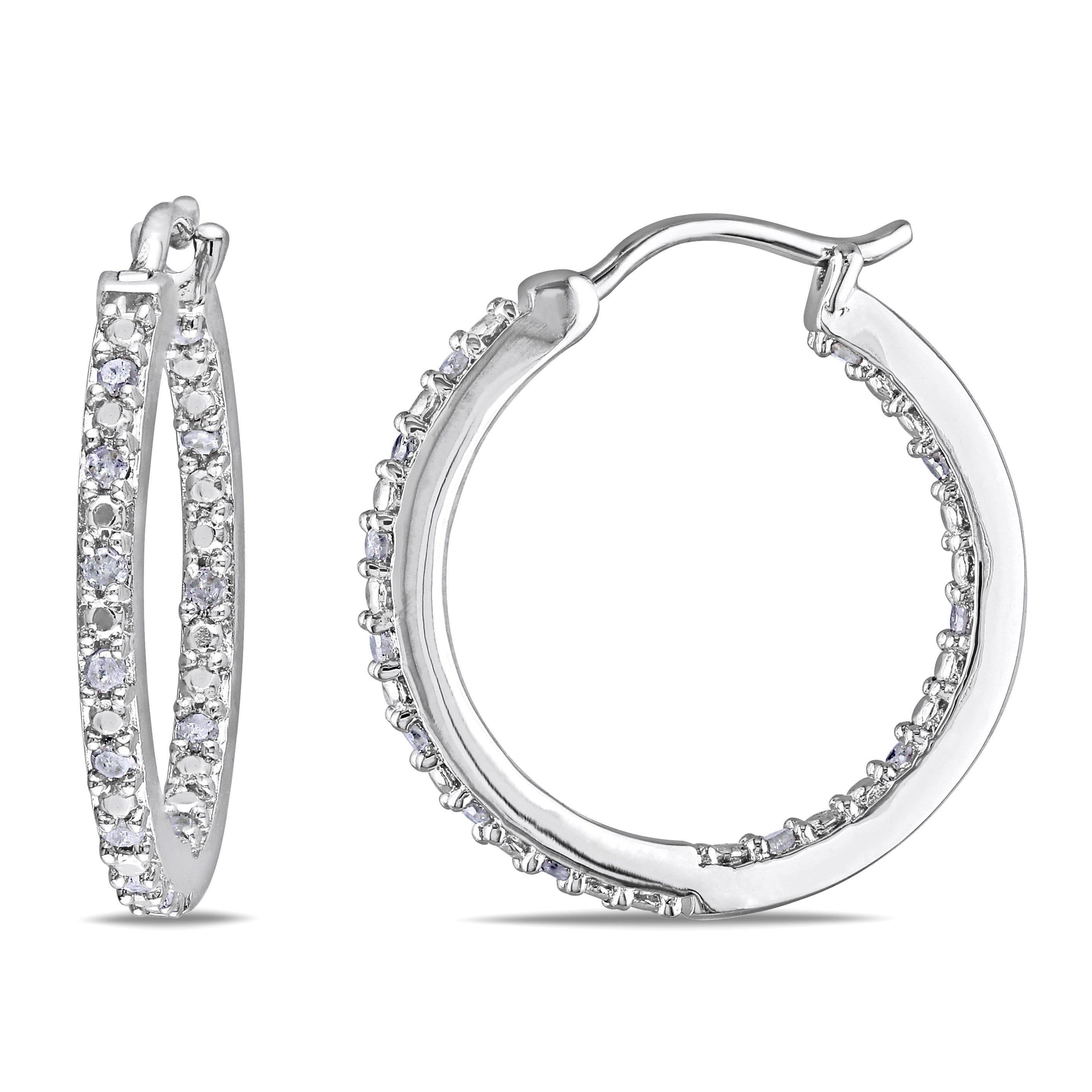 Miadora Sterling Silver 1 4ct Tdw Diamond Hoop Earrings Medium