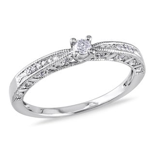 Miadora Sterling Silver Diamond Promise Ring