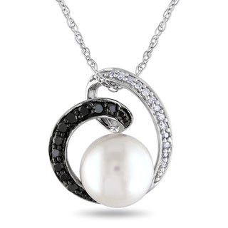 Miadora 10k White Gold Cultured Freshwater Pearl and 1/6ct TDW Black and White Diamond Swirl Necklace