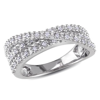 Miadora Sterling Silver 1/4ct TDW Diamond Crossover Ring