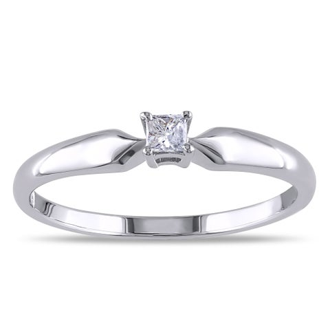 Miadora Sterling Silver 1/10ct TDW Princess Diamond Ring