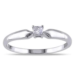 Miadora Sterling Silver 1/10ct TDW Princess Diamond Ring|https://ak1.ostkcdn.com/images/products/9082988/Sterling-Silver-1-10ct-TDW-Princess-cut-Diamond-Solitaire-Ring-J-K-I2-I3-P16273720.jpg?impolicy=medium