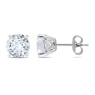 Miadora Sterling Silver Created White Sapphire Solitaire Earrings