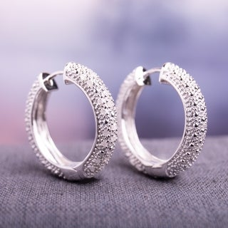 Miadora Sterling Silver 1/2ct TDW Diamond Hoop Earrings (I-J, I2-I3)