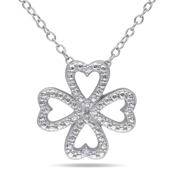 Miadora Sterling Silver Diamond Accent Clover Heart Necklace