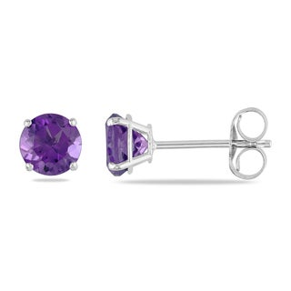 Miadora 14k White Gold Amethyst Solitaire Earrings