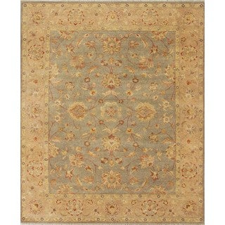 Hand-knotted Ziegler Blue Beige Vegetable Dyes Wool Rug (6' x 9')