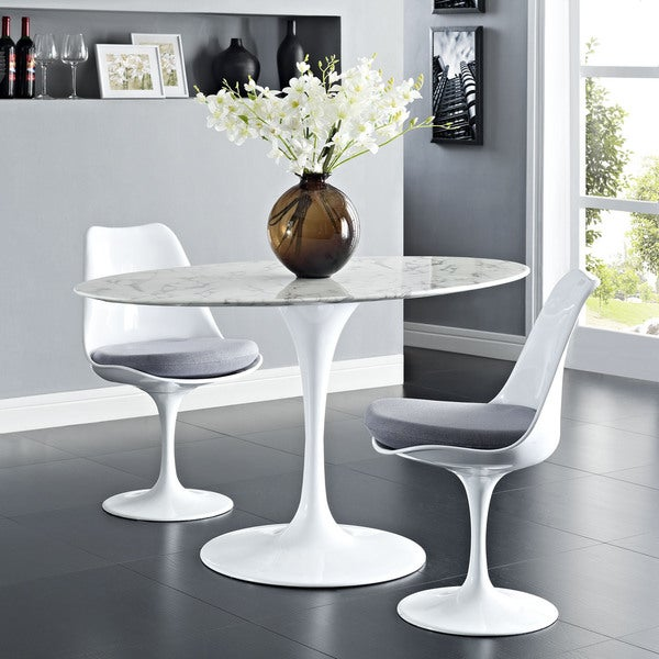 Lippa Marble 54 Quot White Oval Shaped Dining Table Free