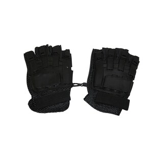 I&I Sports Flexon Black Armored Back Half Finger Paintball Airsoft Bike Motocross Leather Gloves