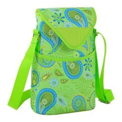 Picnic at Ascot Two Bottle Tote 13in Paisley Green