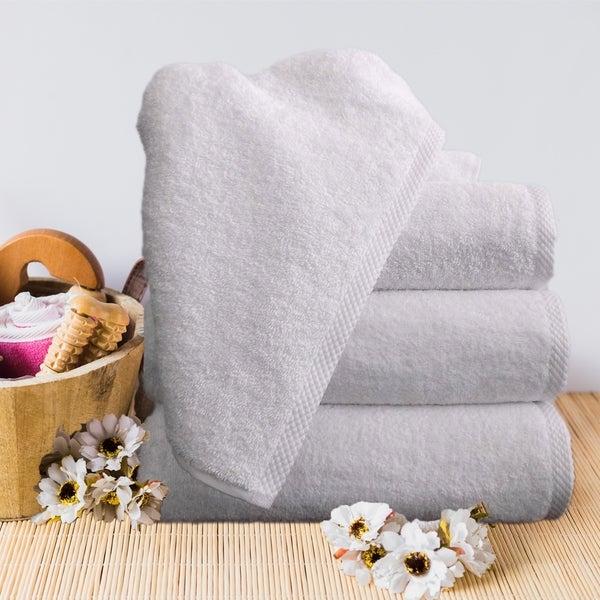"Classic White 100-percent Turkish Cotton Soft & Luxury Bath Towel Set of 4 - 24"" x 48"""