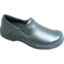 Men's Genuine Grip Footwear Slip-Resistant Slip-On Work Shoes Black Leather