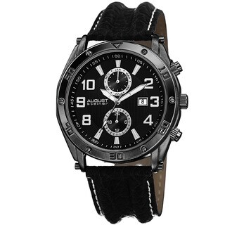 August Steiner Men's Swiss Quartz Multifunction Leather Black Strap Watch with FREE GIFT