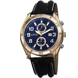 August Steiner Men's Swiss Quartz Multifunction Leather Blue Strap Watch with FREE GIFT