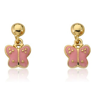 Little Miss Twin Stars 14k Yellow Goldplated Brass Pink Butterfly Dangle Earrings