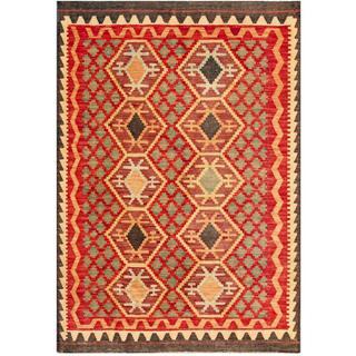 Herat Oriental Afghan Hand-woven Tribal Wool Kilim (4'2 x 5'10)