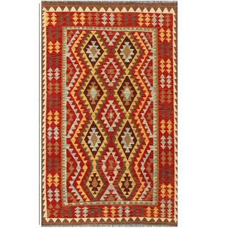 Herat Oriental Afghan Hand-woven Tribal Kilim Red/ Tan Wool Rug (4'1 x 6'5)